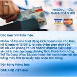 Oriflame chấp nhận thanh toán đơn hàng bằng thẻ ngân hàng